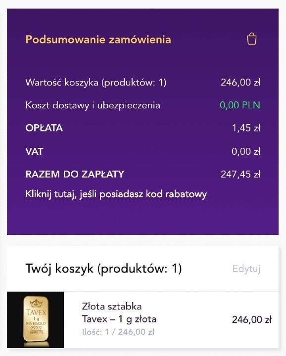 Dodatkowa opłata transakcyjna 0,59% Imoje ING w Tavex